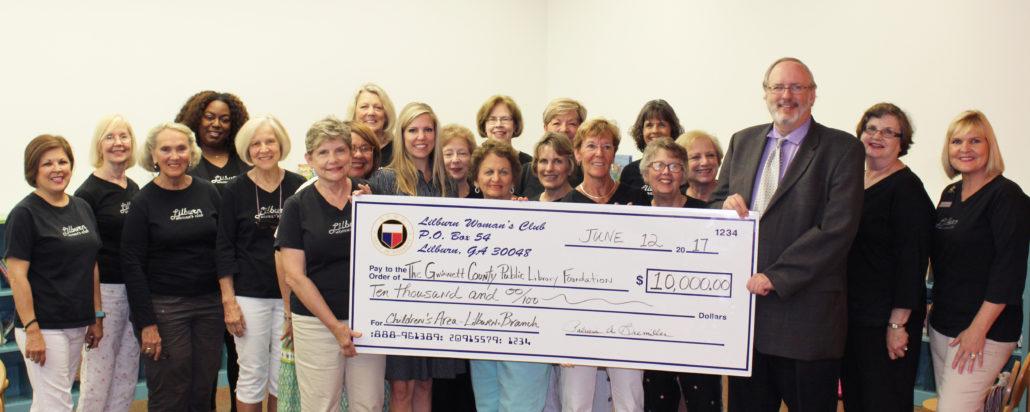 GFWC Lilburn Woman's Club Donates $10,000 to the Lilburn Branch