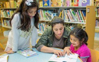 patrons reading at dekalb library