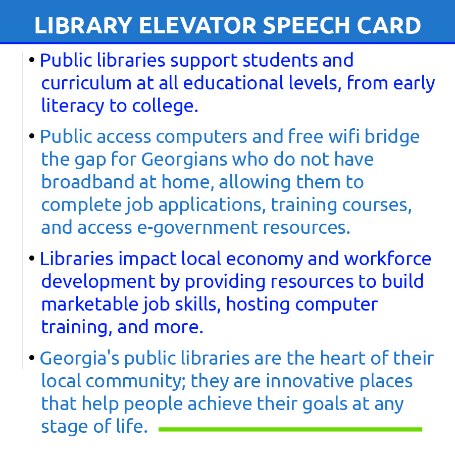 library elevator speech card