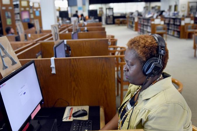 patron using computers at Satilla Regional Library