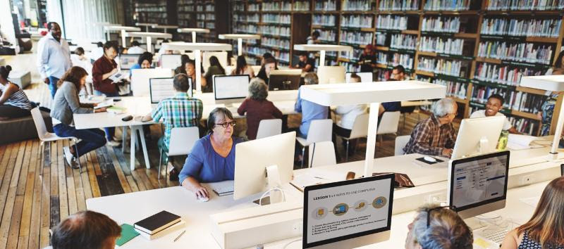 photo of people using computers in the library