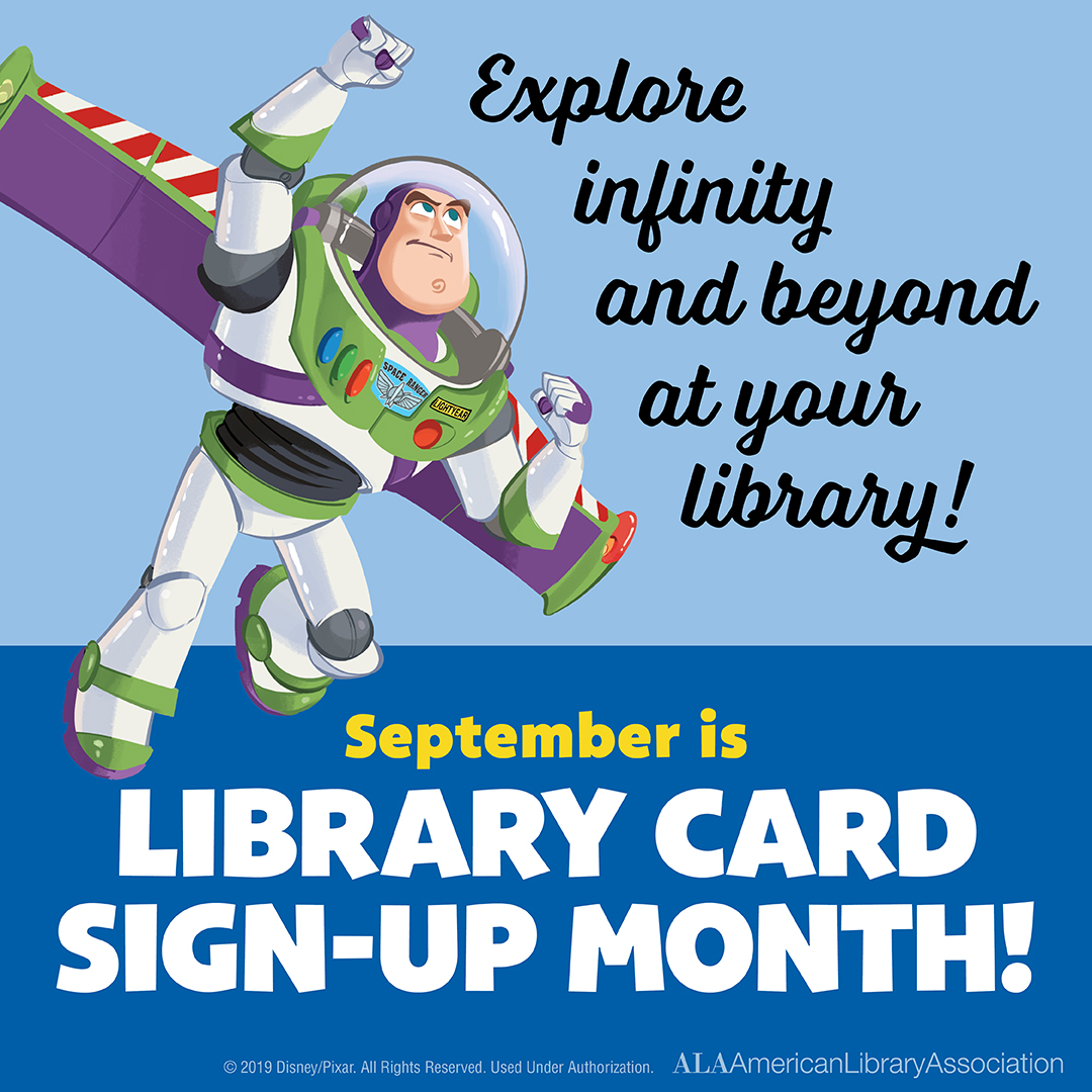 buzz lightyear library card month graphic