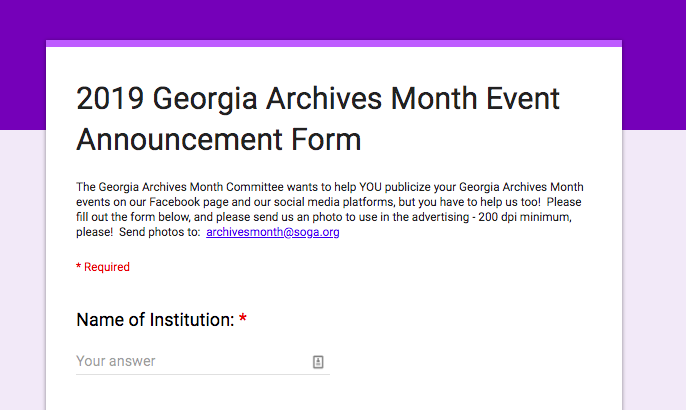 Snapshot of Georgia Archives Month publicity form