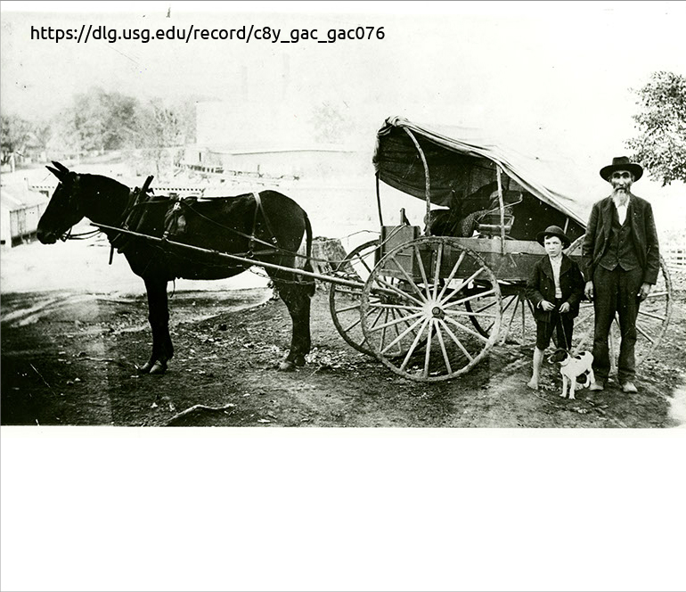black and white image of a man, boy and dog standing next to a horse and carriage
