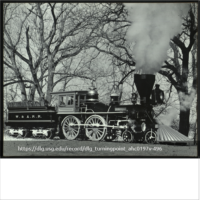 black and white image of an old railroad train