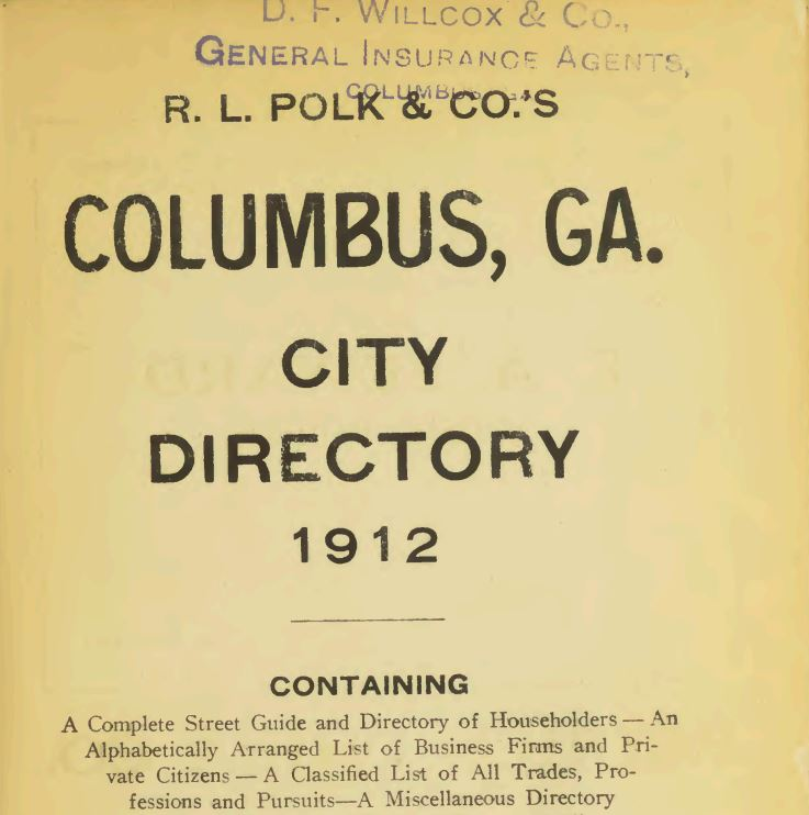 columbus city directory from 1912