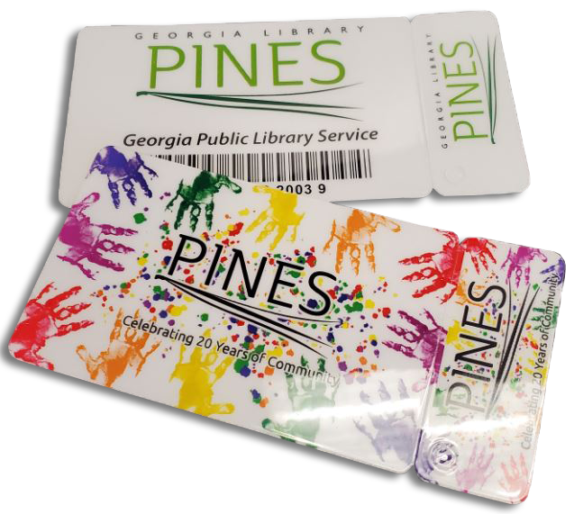 new pines library cards with new logo