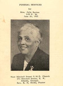 image of the funeral program for Julia Burton