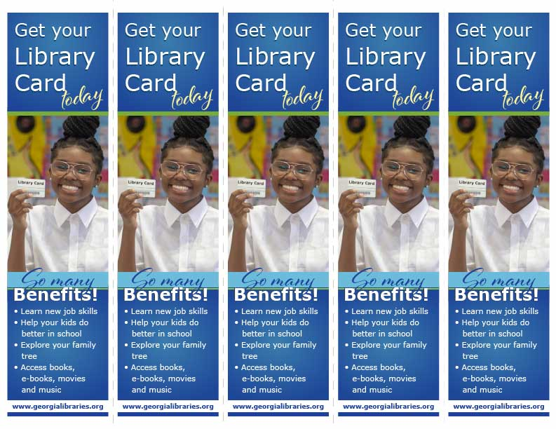 5-up library card signup month bookmark