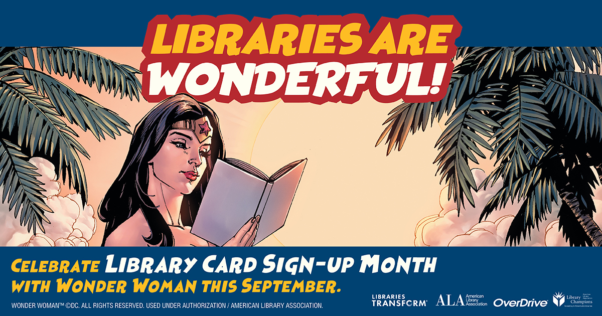library card sign up month 2020 graphic