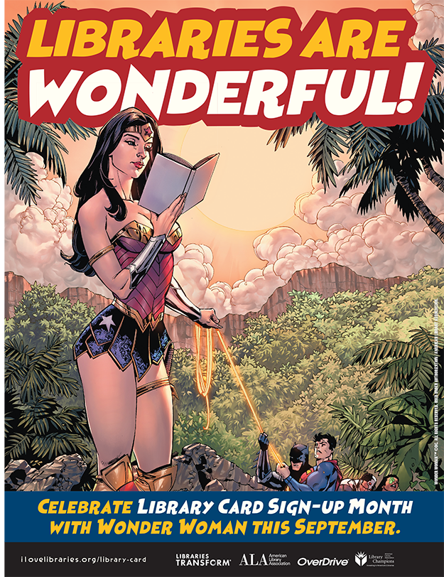 library card sign up month 2020 graphic wonder-woman-8-5x11-poster