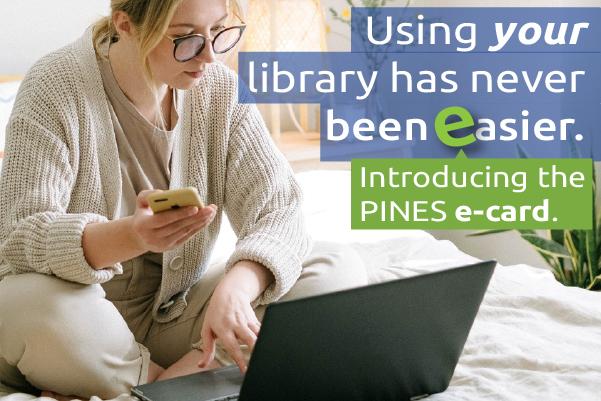 pines ecard graphic - woman using smartphone laptop