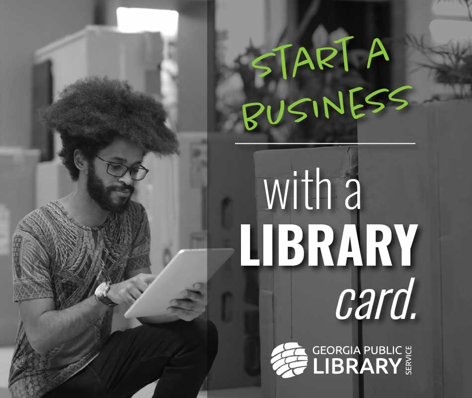 start a business with a library card graphic
