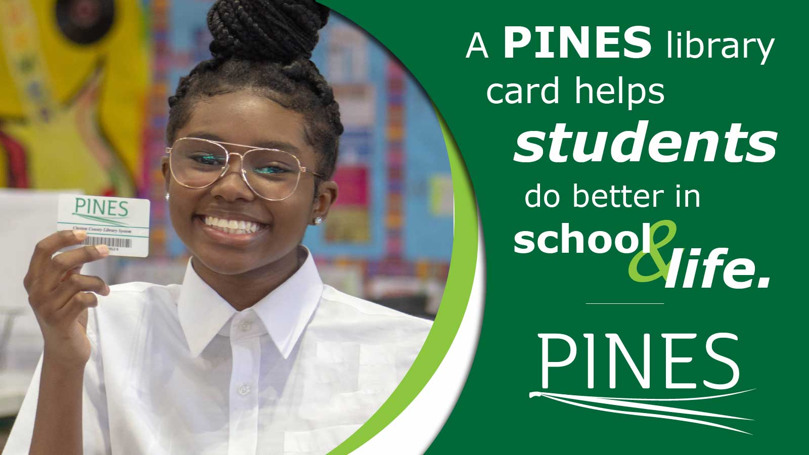pines library card helps students graphic