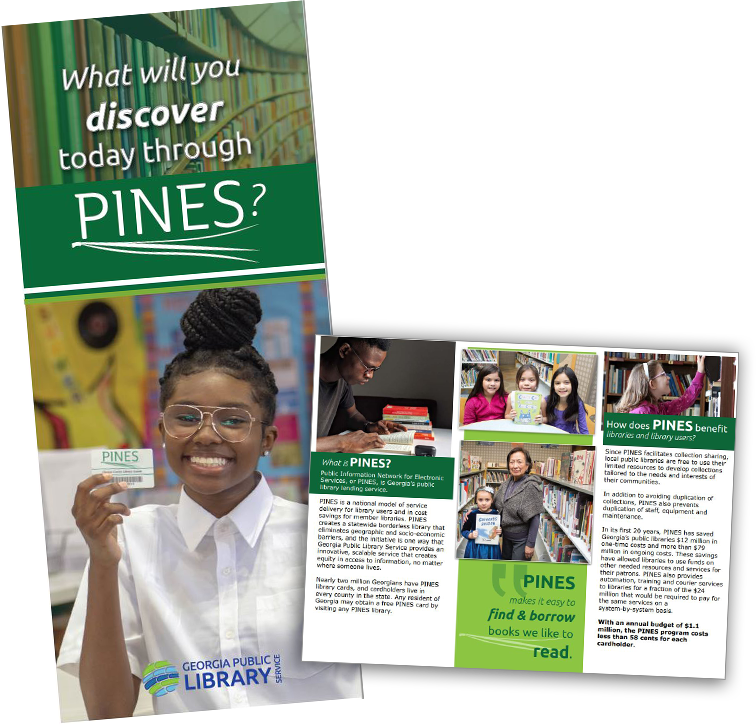 PINES trifold brochure cover and inside