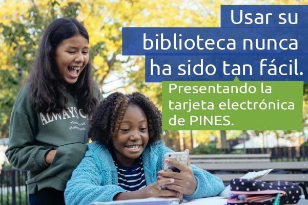 spanish - pines ecard graphic - kids using smartphone