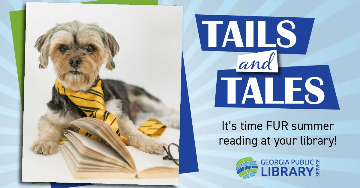 dog with book summer reading graphic