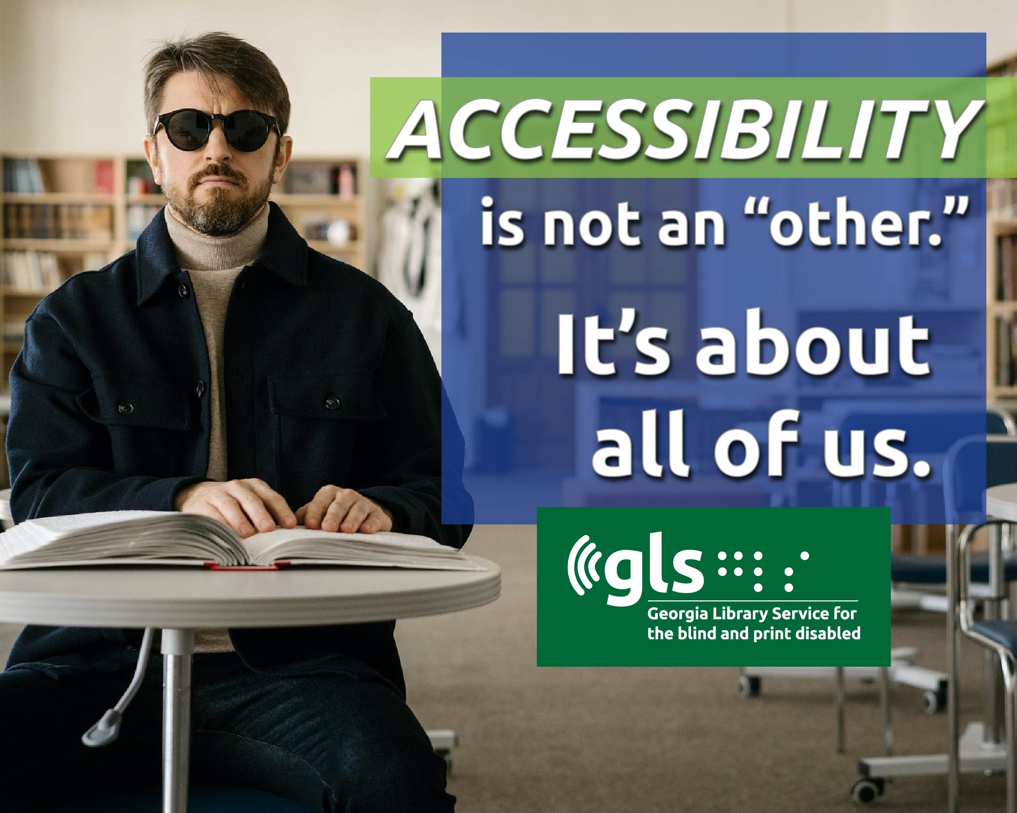 visually impaired library patron