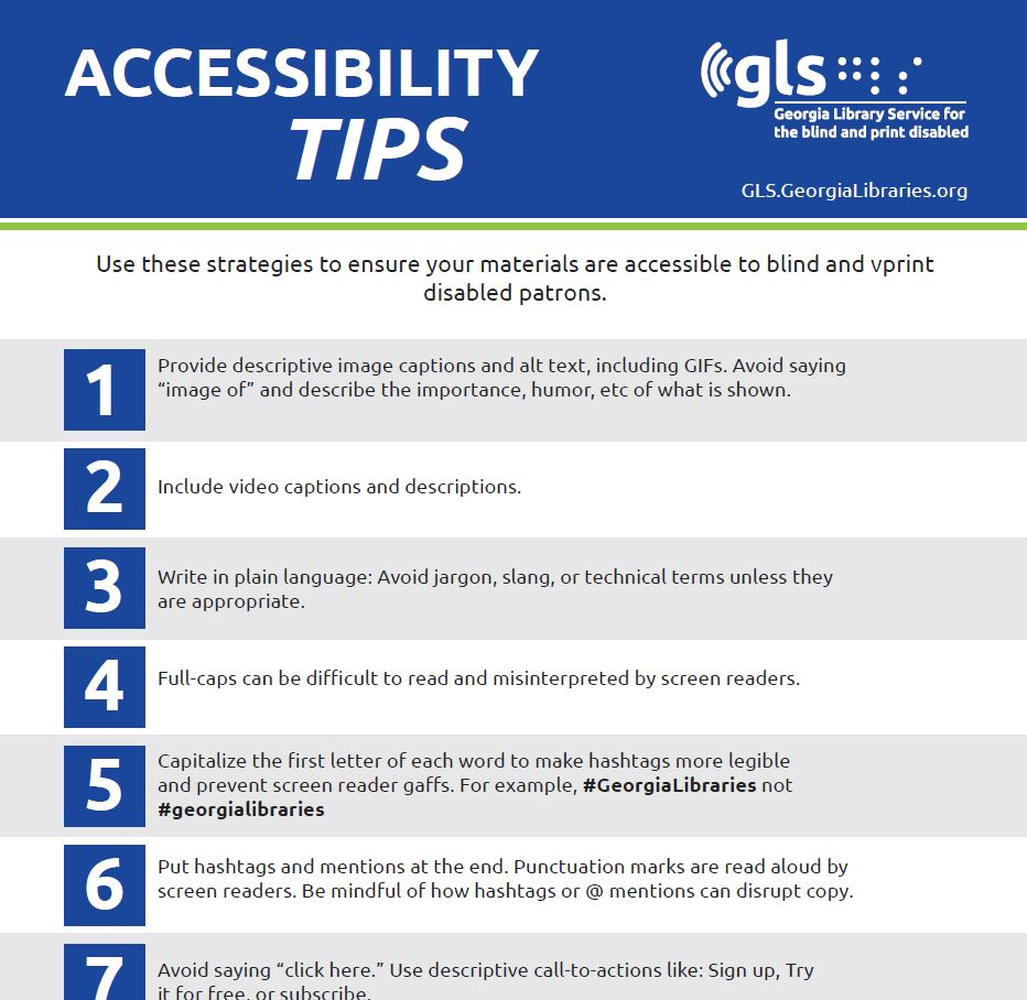 georgia library service for blind accessibility tip sheet