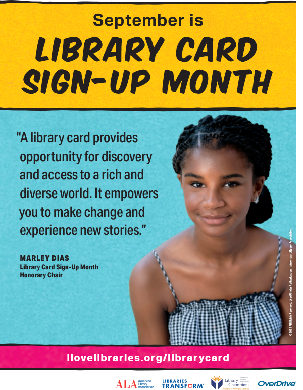 Marley Dias library card sign up month graphic